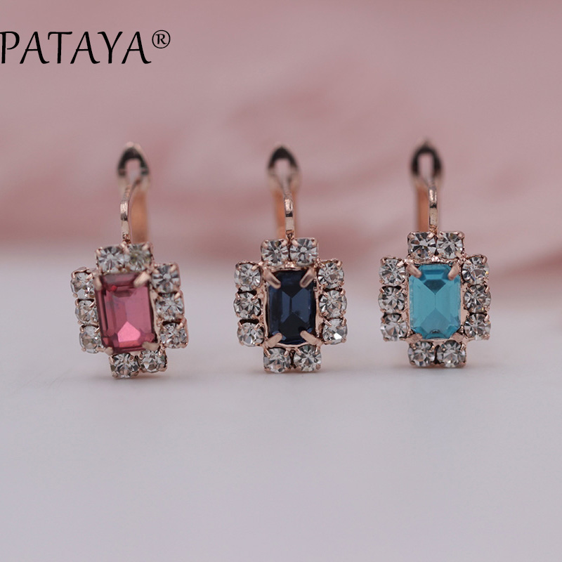 PATAYA New Arrivals Dark Blue Square Natural Cubic Zirconia Earrings 585 Rose Gold Fine Earrings Women Party Jewelry Accessories/PATAYA New Arriva